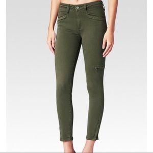 Paige Daryl Olive Leaf Green Cargo Skinny Jeans